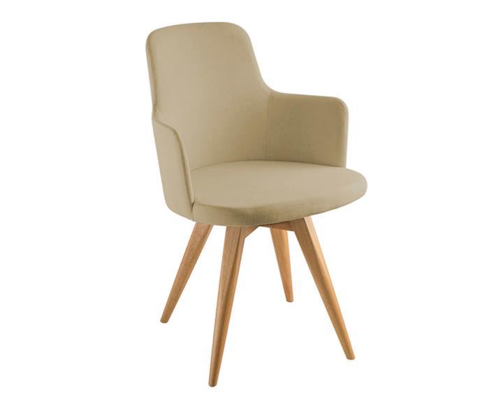 cadeira giratória base madeira hanover (tecido) 105404 cadeira giratória base madeira hanover bege