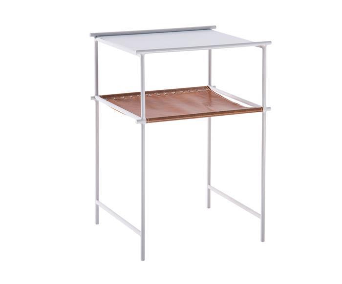 mesa de apoio em metal e couro el paso 122706 mesa de apoio em metal branco e couro caramelo