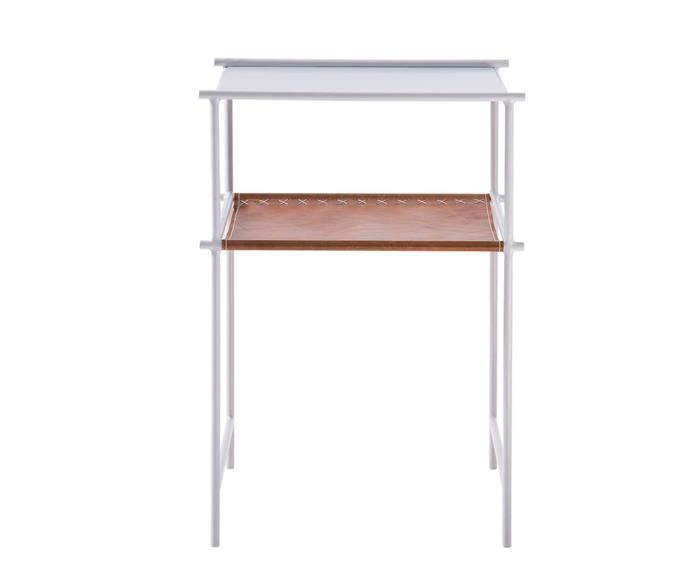 mesa de apoio em metal e couro el paso 122706 mesa de apoio em metal branco e couro caramelo 2