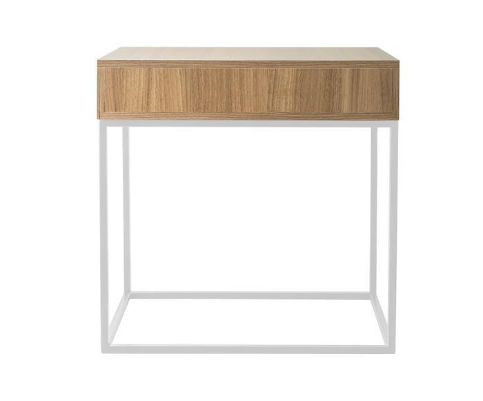 mesa de cabeceira em metal e madeira oviedo 114906  mesa de cabeceira em madeira e metal branco oviedo 4