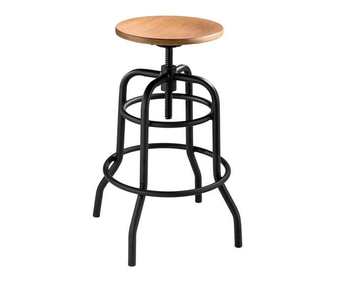 banqueta industrial altura regulável base redonda 106017 banqueta industrial em metal e madeira clara
