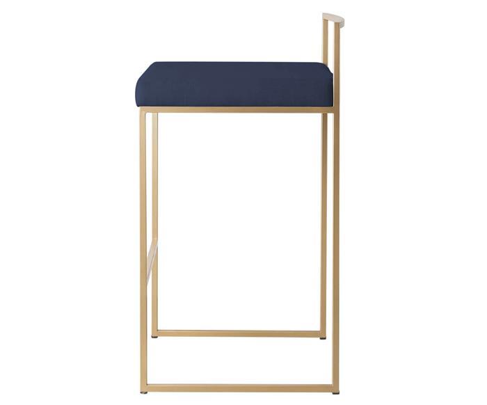 banqueta dourada oviedo 114703 banqueta de metal dourado com assento azul