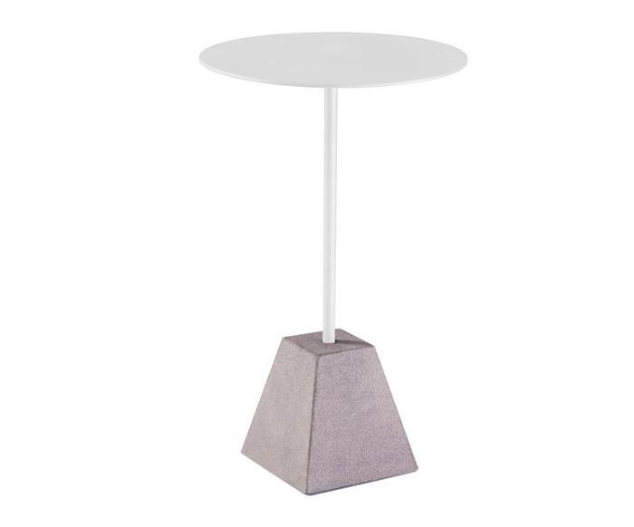 mesa lateral em metal e pedra concret 121106 mesa lateral em metal e pedra concret branca