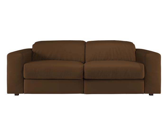 sofá retrátil elétrico em couro natural 2 lugares chelsea 127014  sofá retrátil elétrico em couro natural caramelo