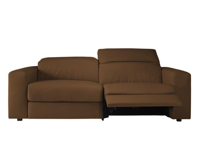 sofá retrátil elétrico em couro natural 2 lugares chelsea 127014  sofá retrátil elétrico em couro natural caramelo 1