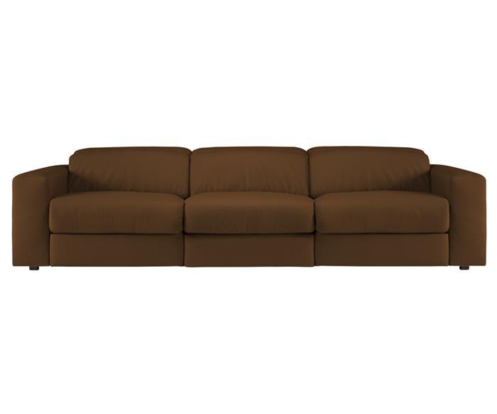sofá retrátil elétrico em couro natural 3 lugares chelsea 127114 sofá retrátil elétrico em couro natural 3 lugares caramelo