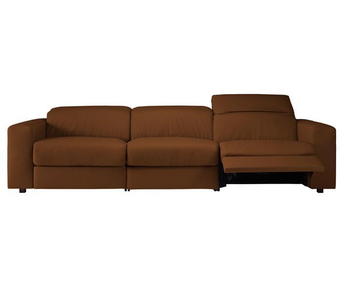 sofá retrátil elétrico em couro natural 3 lugares chelsea 127114 sofá retrátil elétrico em couro natural 3 lugares caramelo 2