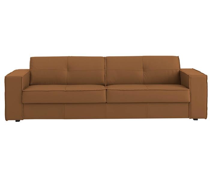 sofá em couro natural 3 lugares san francisco (com molas) 126907G sofá em couro natural CARAMELO (com molas)