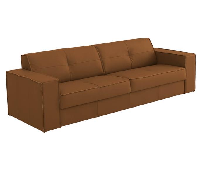 sofá em couro natural 3 lugares san francisco (com molas) 126907G sofá em couro natural CARAMELO (com molas) 1