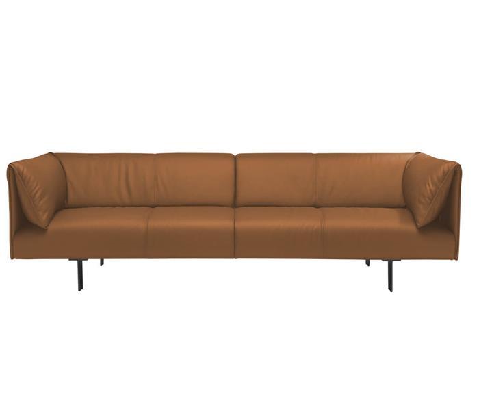 sofá em couro natural taormina 126807 sofá em couro natural caramelo moderno contemporaneo