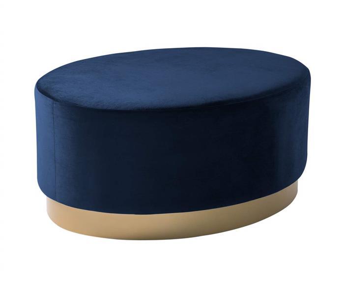 puff oval base dourada orleans 122403G puff oval azul com base dourada