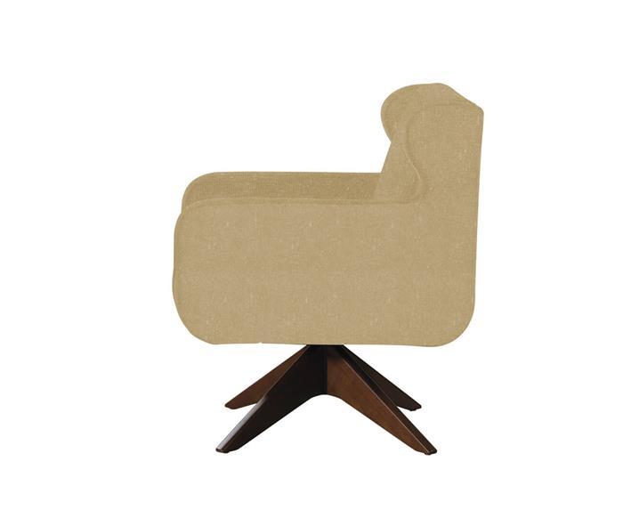 poltrona giratória base em madeira austin 100504 poltrona giratória base em madeira austin bege