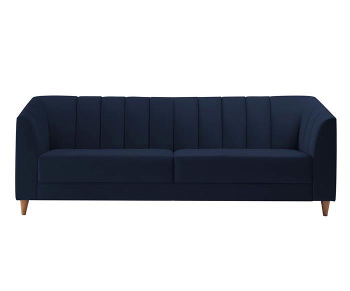 sofá 3 lugares allure em veludo 074203 sofá 3 lugares com gomos em veludo azul marinho