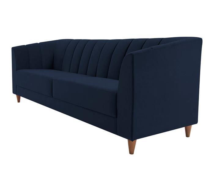 sofá 3 lugares allure em veludo 074203 sofá 3 lugares com gomos em veludo azul marinho 1