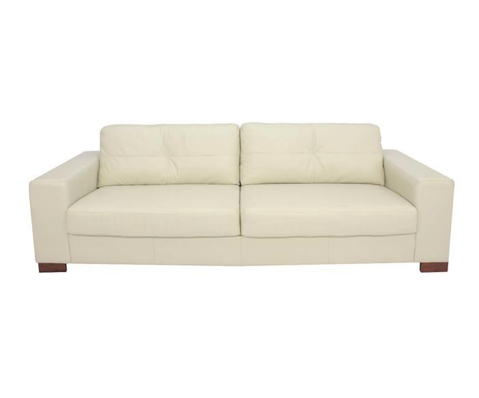 sofá 3 lugares em couro natural milão 020313 sofá 3 lugares em couro natural off whiite cru