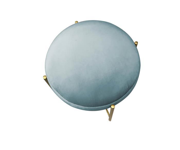 banco em veludo base dourada drops 101502 banco de veludo azul com base metal dourada