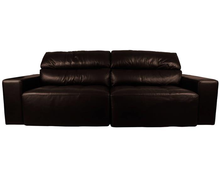 sofá 3 lugares retrátil em couro natural london 024819 sofá 3 lugares retrátil e reclinável em couro natural marrom
