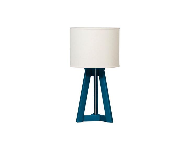 luminária de mesa em madeira tria 034402 luminária de mesa em madeira tria azul
