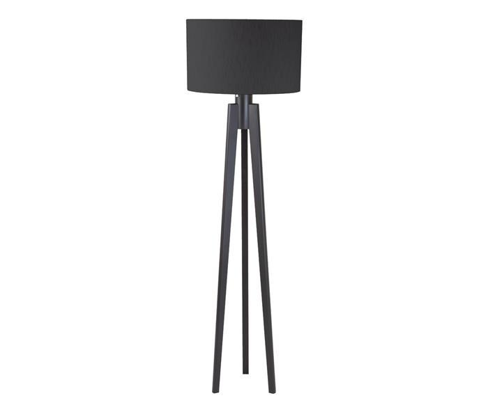 luminária de piso em madeira tripé 111922 luminária de piso em madeira tripé preta