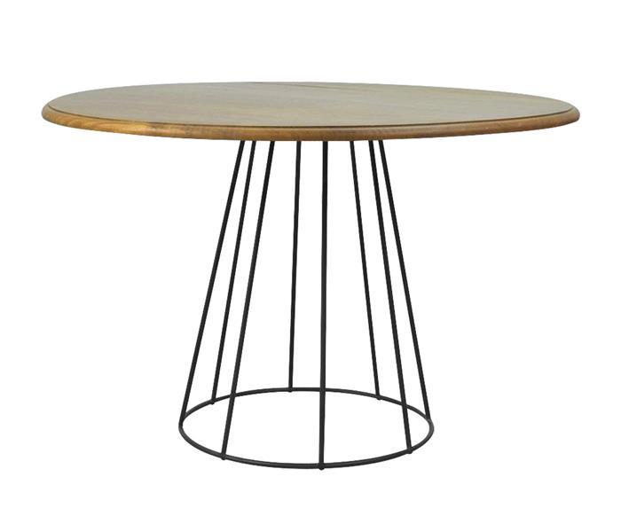 mesa de jantar redonda base em metal mykonos 133717 mesa de jantar redonda madeira base em metal mykonos