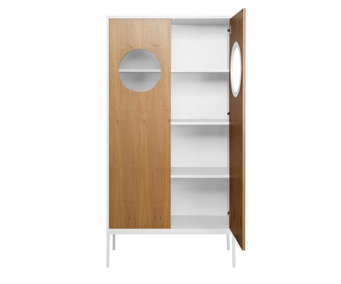 armário cristaleira em madeira chelsea 129706 armário cristaleira em madeira chelsea branco e freijó aberto