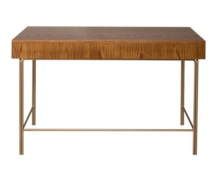 escrivaninha em madeira carvalho baleares   138815 escrivaninha em madeira carvalho base dourada baleares