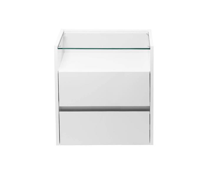 mesa de cabeceira branca em laca e vidro loft 1279G mesa de cabeceira branco em laca e vidro loft