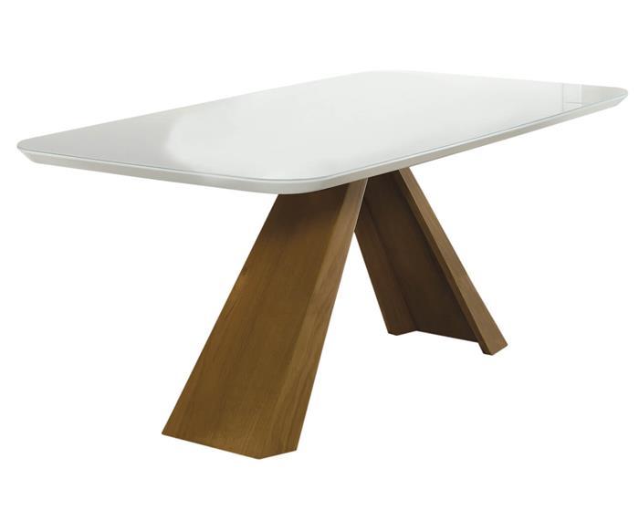 mesa de jantar retangular portofino (tampo em laca e vidro) 1066G mesa de jantar retangular portofino (tampo em laca e vidro)
