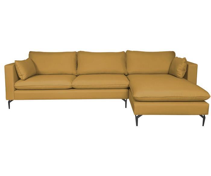 sofá com chaise 4 lugares arco 123101BD sofá com chaise 4 lugares amarelo
