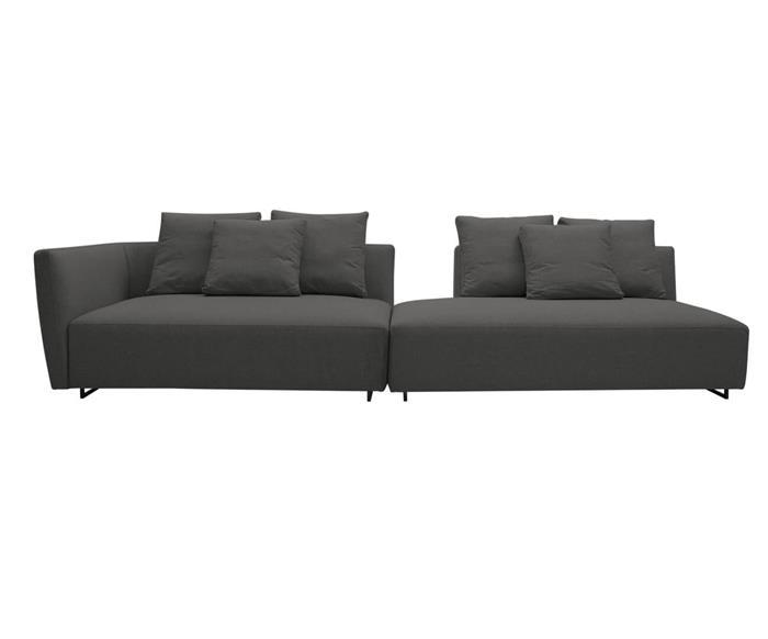 sofá com chaise 3 lugares cloud (modular) 091709BD sofá com chaise 3 lugares modular em linho cinza