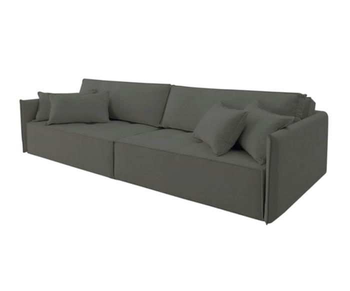 sofá retrátil 4 lugares em molas sogno 106909G sofá retrátil e cama 4 lugares em molas cinza 1