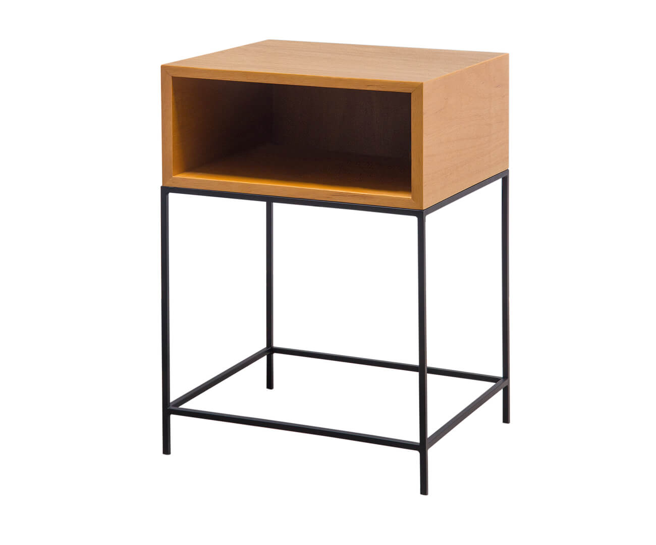 mesa de cabeceira em madeira e metal simple 1238