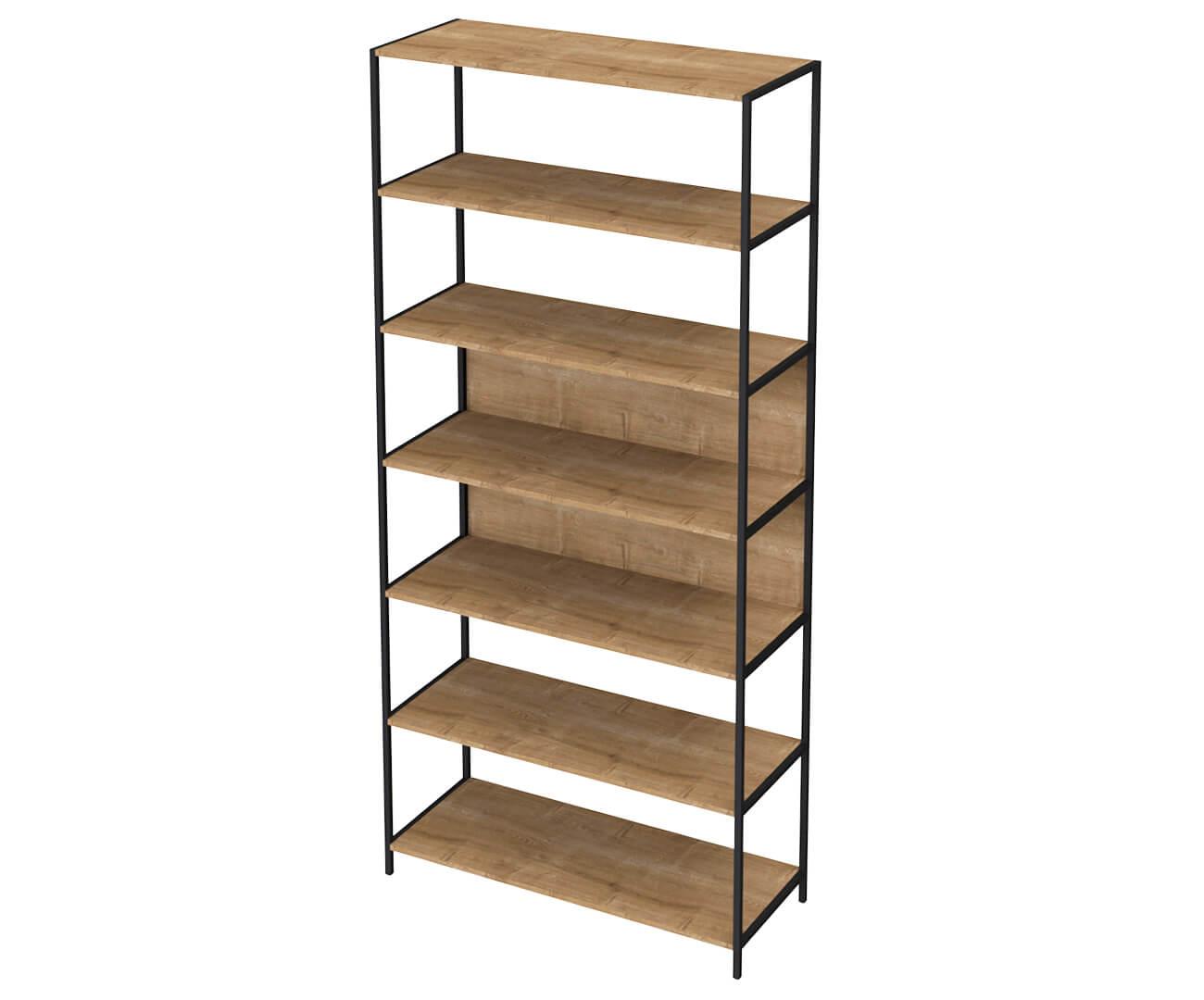 estante em metal e madeira camden grande 0926