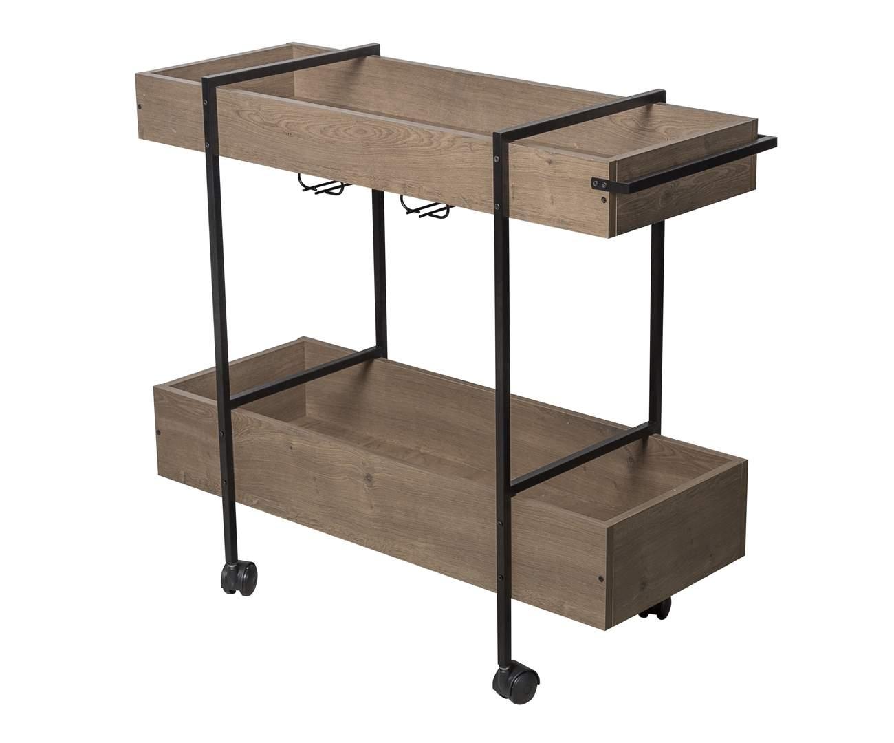 carrinho de bar em metal e madeira camden 1108