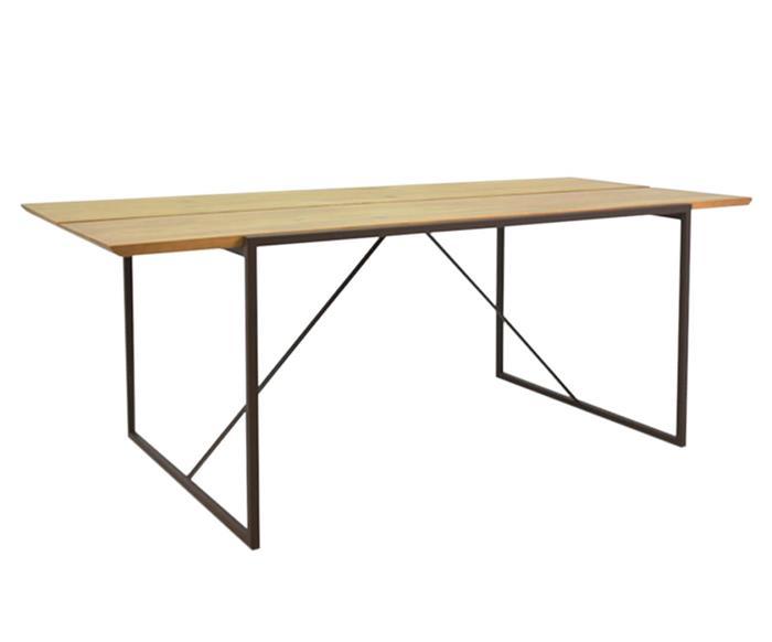 mesa de jantar em metal e madeira mescla 1049