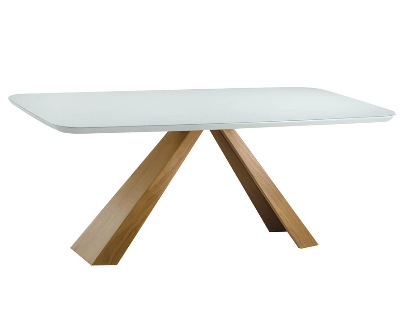 mesa de jantar retangular portofino (tampo em laca e vidro) 1066