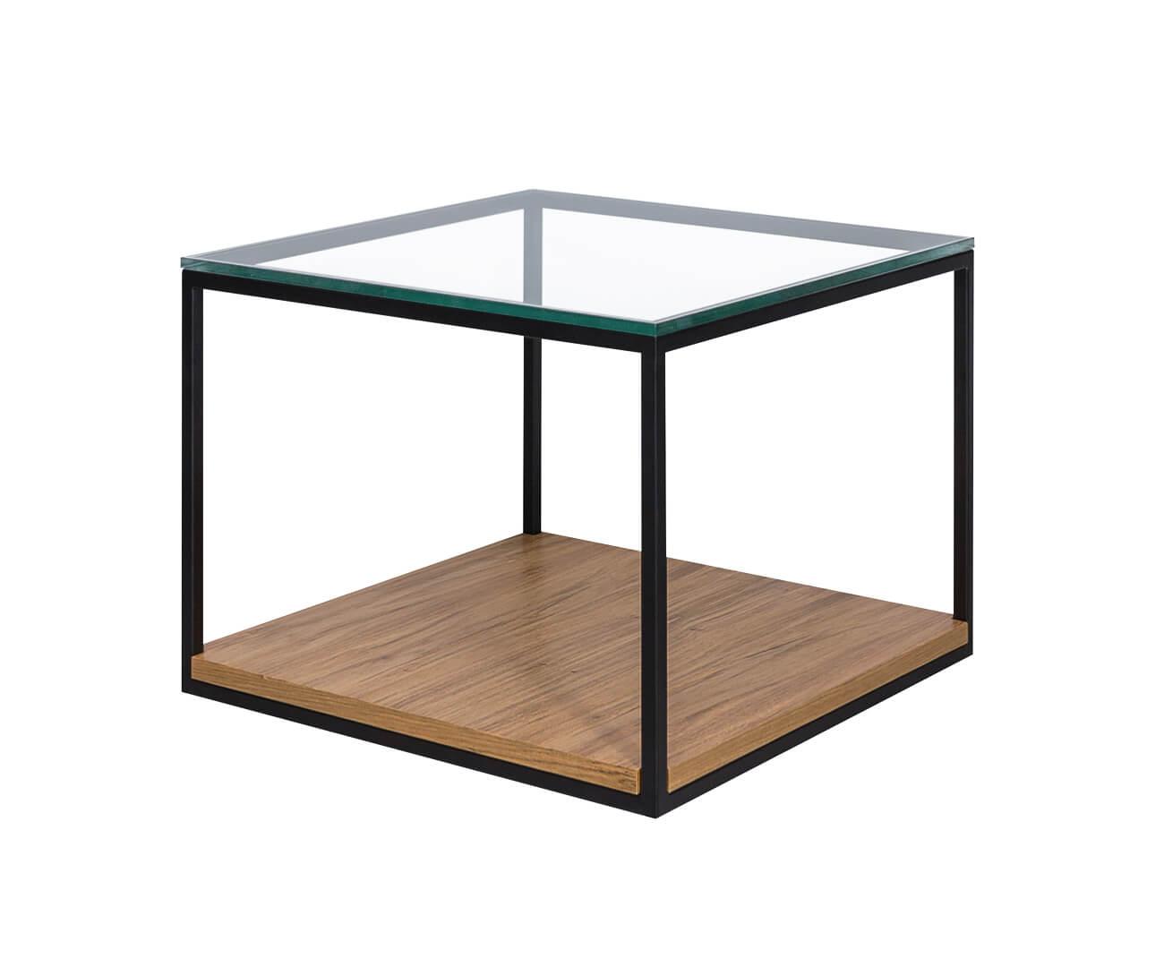 mesa com vidro e madeira cube 1306