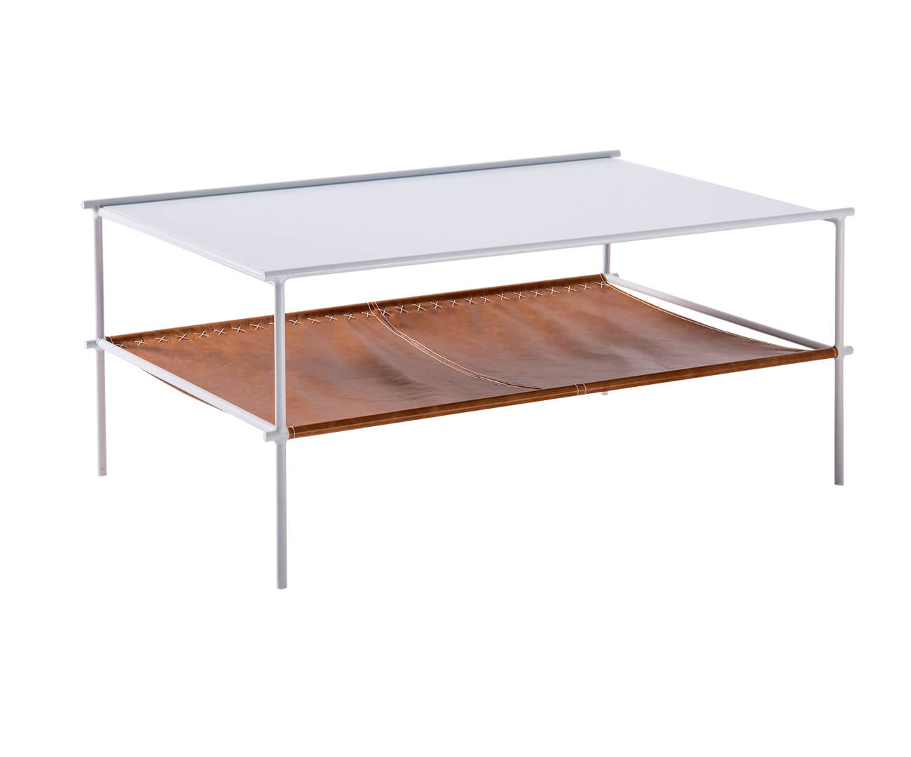 mesa de centro em metal e couro el paso 1226