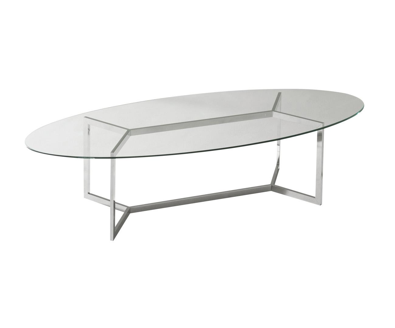 mesa de centro oval clean com vidro 0274