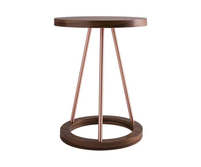 mesa lateral em cobre e madeira amalfi 0818
