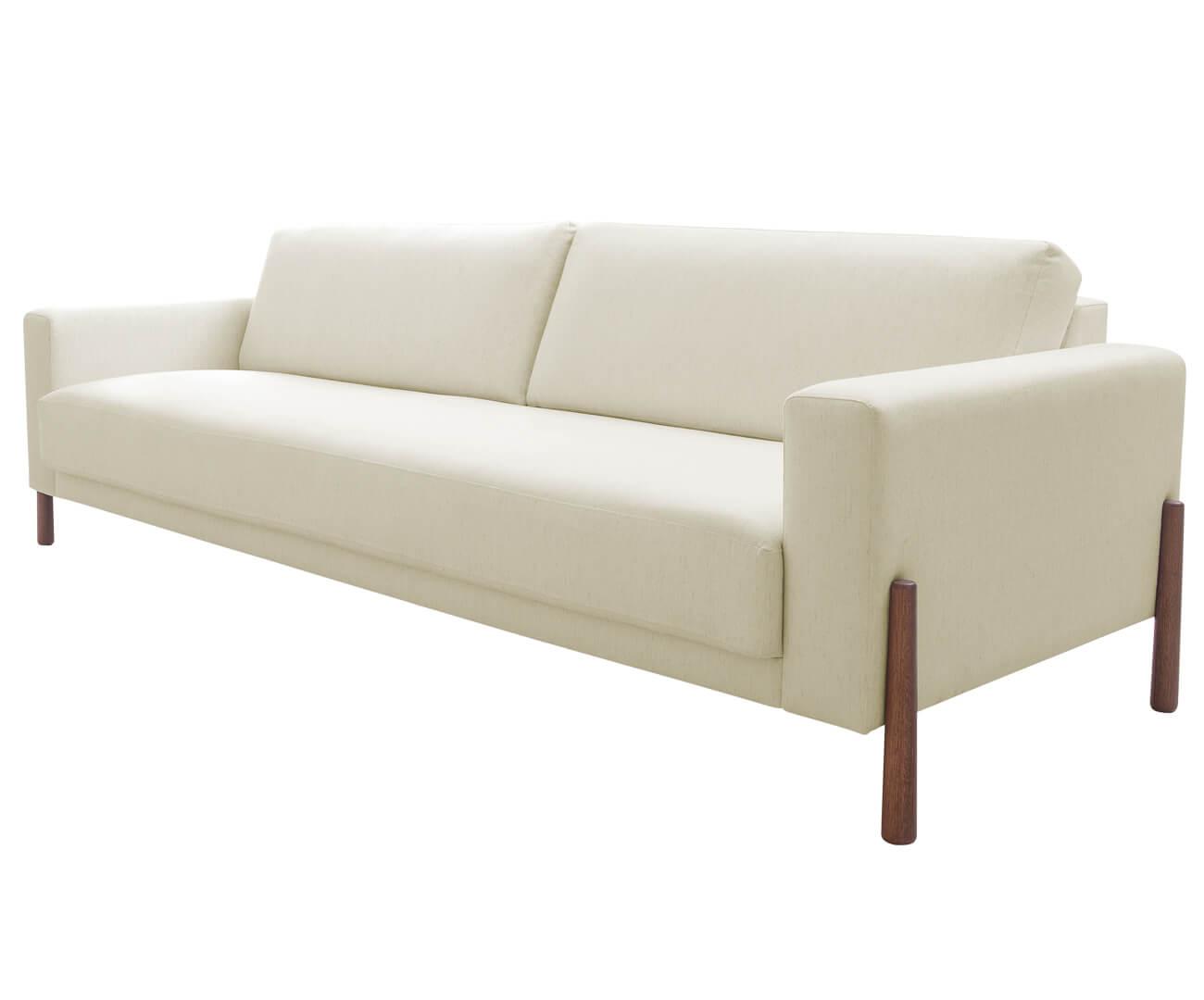 sofá com pés em madeira monaco 3 lugares 1307