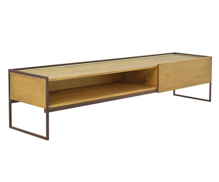 rack em metal e madeira maciça mescla 1050
