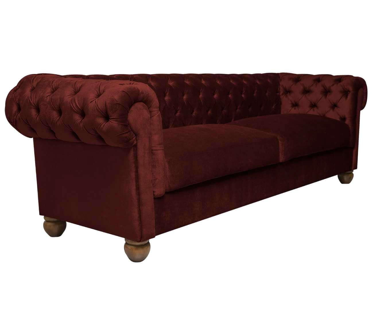 sofá chesterfield em veludo 3 lugares 1090