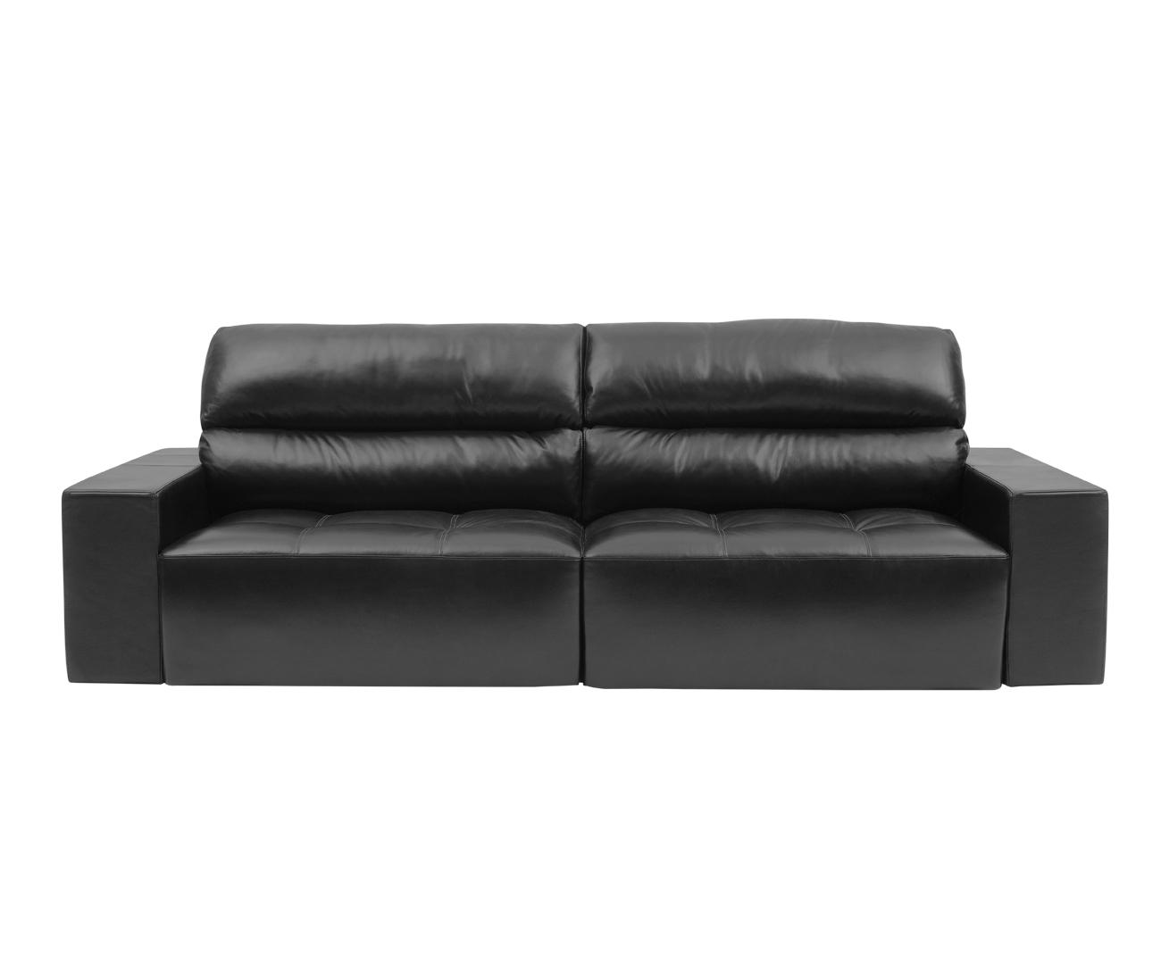 sofá 3 lugares retrátil em couro natural london 0248