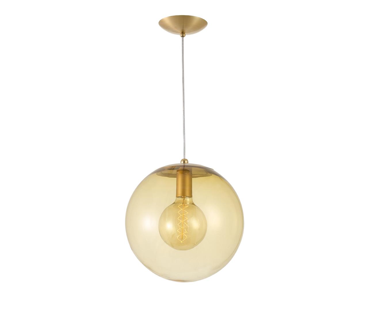 pendente dourado bola vidro âmbar 20cm 1117