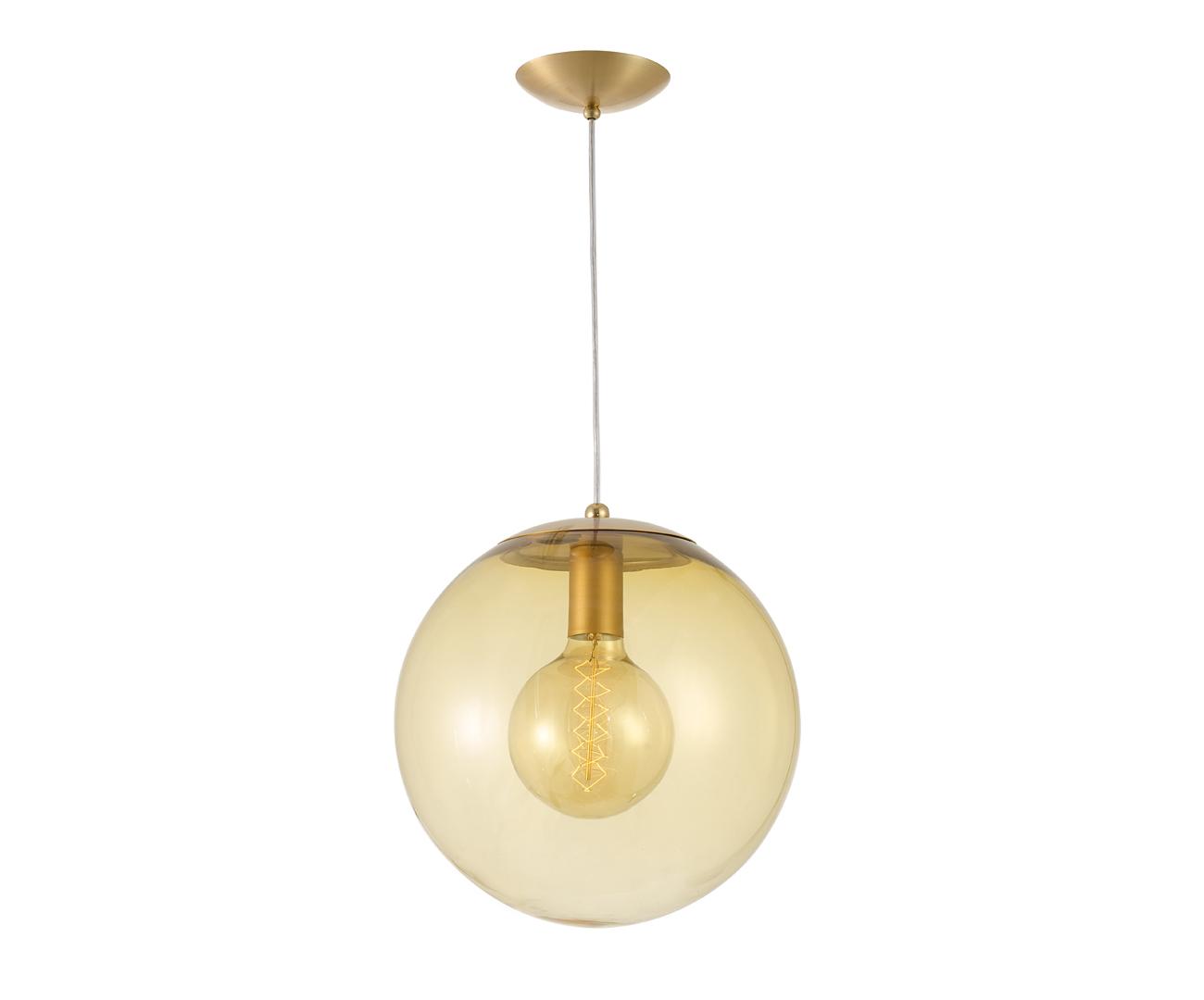 pendente dourado bola vidro âmbar 30cm 0994