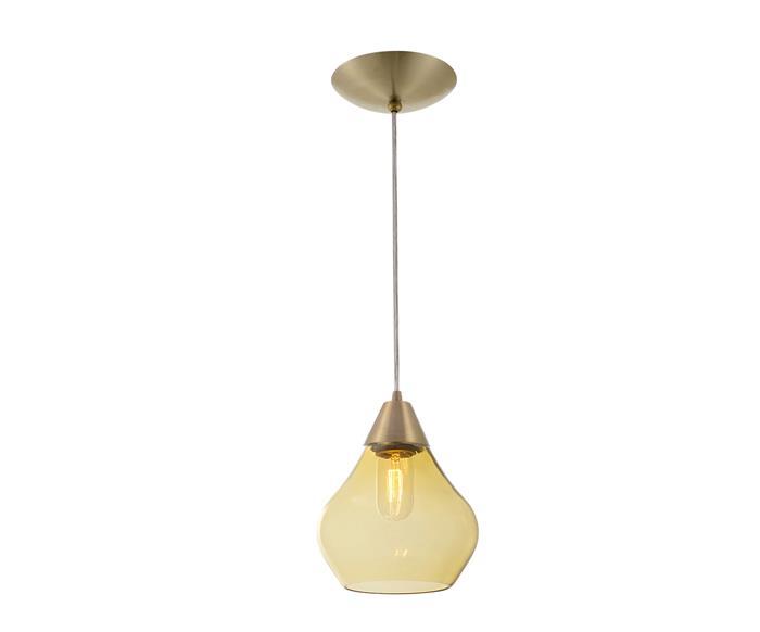 pendente gota dourado em vidro âmbar 0995