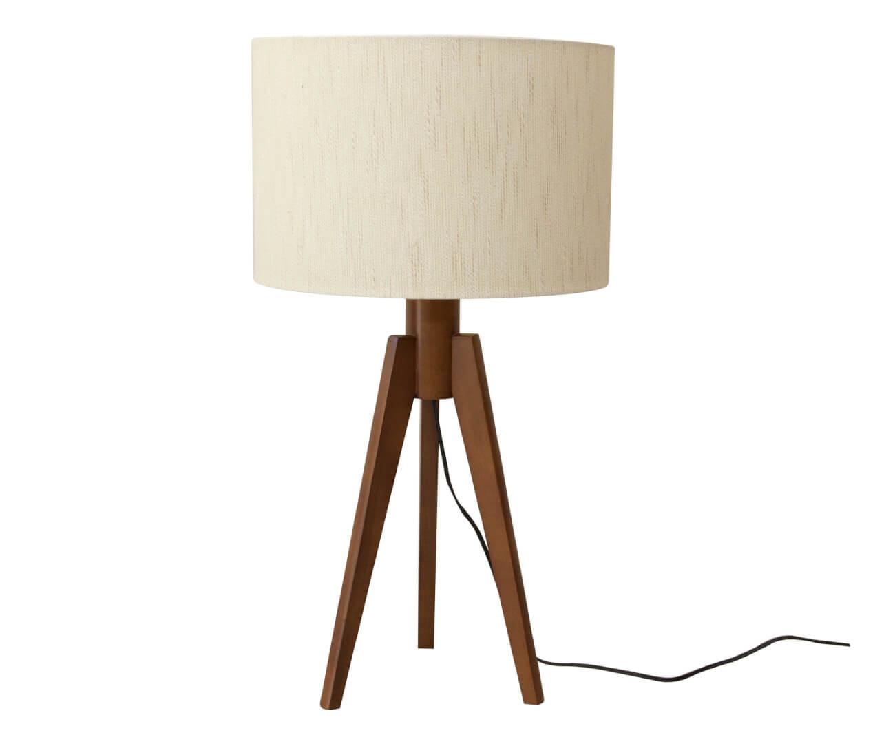 luminária de mesa em madeira tripé 1001