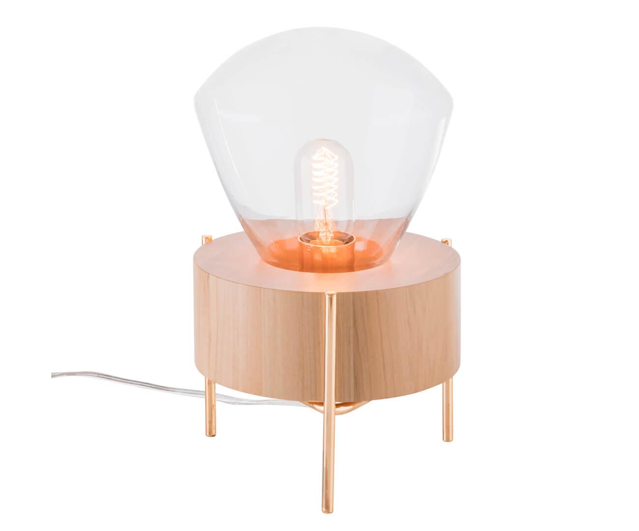 luminária de mesa em vidro e metal oslo 1120