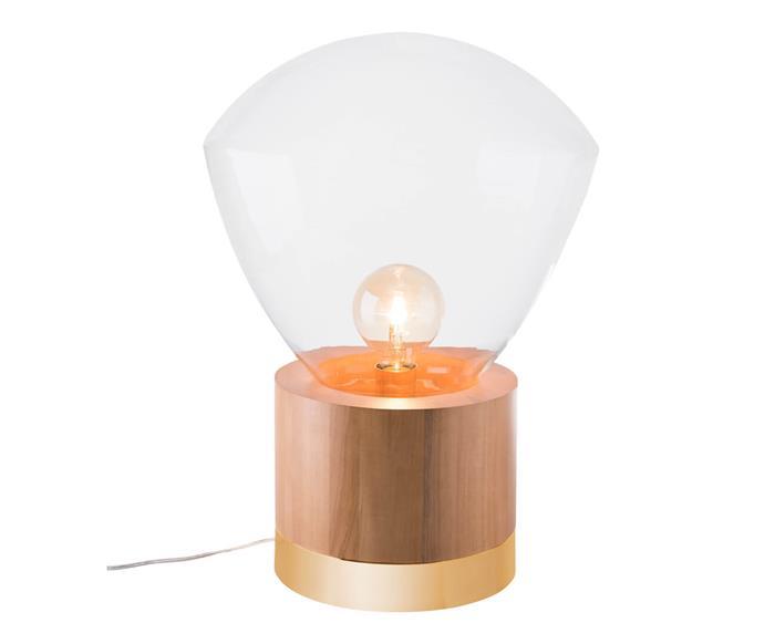 luminária de mesa em vidro e madeira helsinki 1121